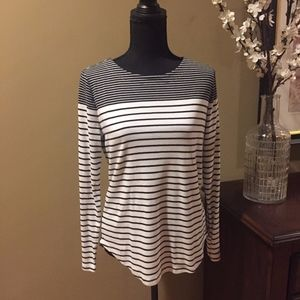 LOFT Long Sleeved Navy and White Striped Shirt